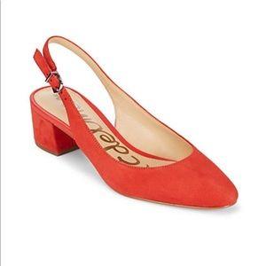 Sam Edelman blood orange 8.5 Lorene sling backs